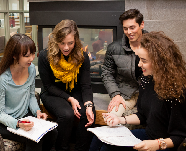 Students study by an NSU Student Center fireplace