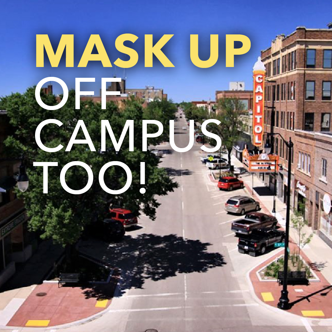 Image of downtown Aberdeen with text: Mask up off campus too