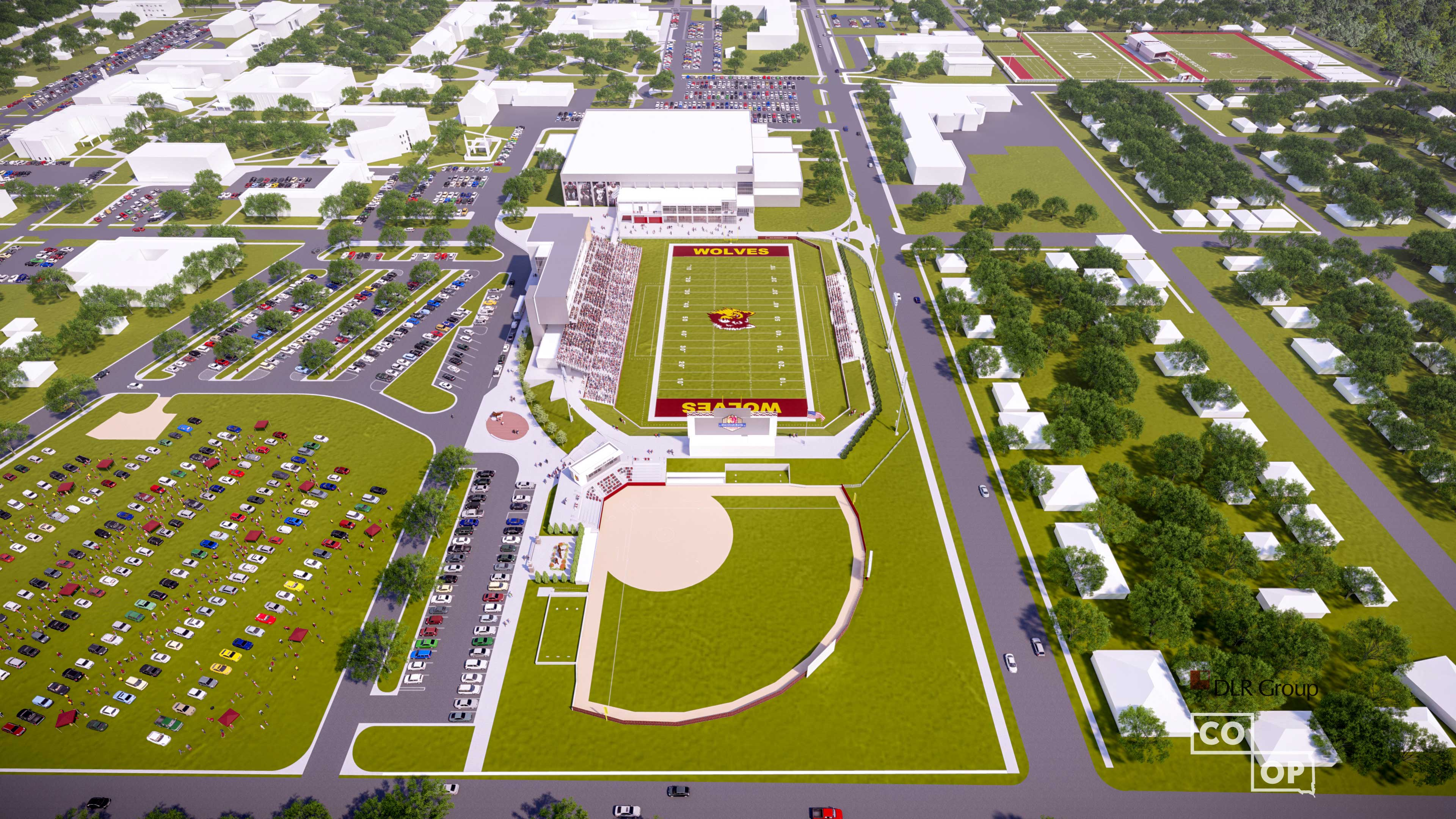 Overhead view of sports complex