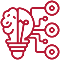 A light bulb with lines and shapes emerging outlined in maroon