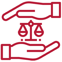 Two hands cupping scales of justice outlined in maroon