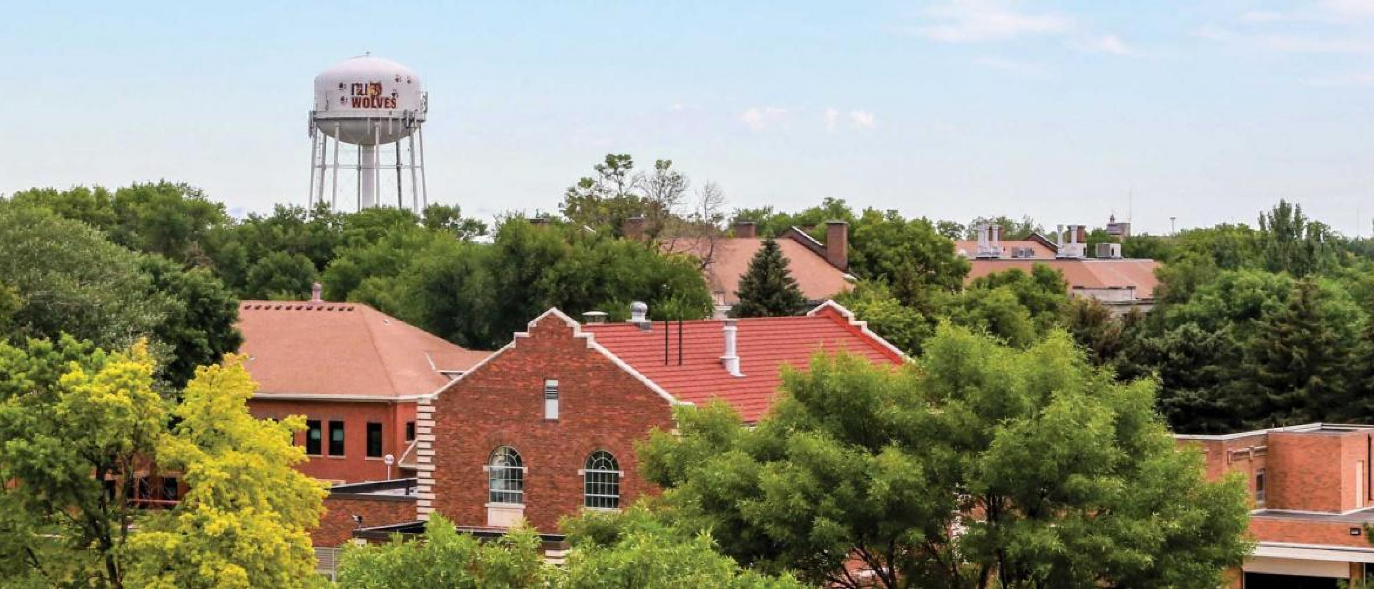 View of campus with water tower