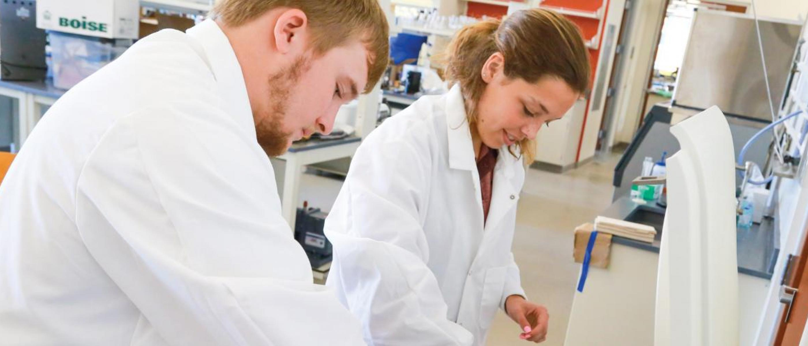 Male and female students working in a lab.