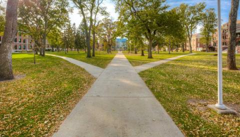 Outdoor view of campus green