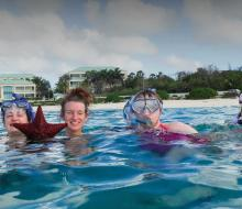 Students swimming abroad