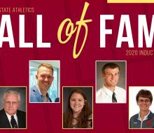 Graphic with head shots of NSU alumni Hall of Fame inductees