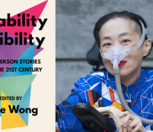Book cover and a photo of an Asian American woman in a power chair wearing a blue shirt and mask.