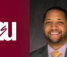 Image of NSU logo next to head shot of admissions director