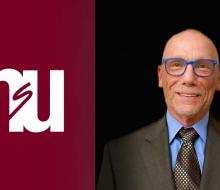 Image of NSU logo next to head shot of businessman