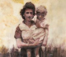 Artwork of woman holding a child