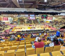 Spectators sitting in the stands at Wachs Arena