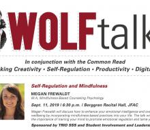 Wolf Talks graphic with text and image of speaker Megan Frewaldt