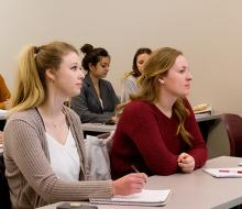 Students listening to lecture in classroom