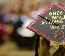 Once a Wolf always a Wolf on a graduate cap