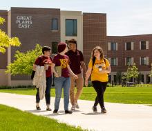 Students walking on the NSU campus