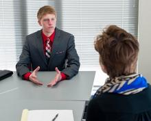Student interviewing for job