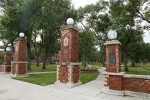 Pillars on campus green