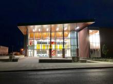 Front view of the Jewett Regional Science Education Center at night