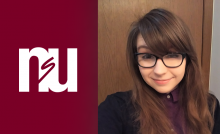 Image of NSU logo and student headshot