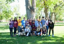 A group of international students on the campus green