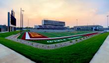 Wide angle of football field at new stadium